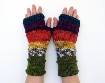 Fingerless  Gloves, Multi Color Arm Warmers, Knit Rainbow Gloves, Hand Warmers, Knit Gloves, Knit Wrist Warmers, Fingerless Mittens
