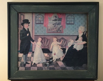 Original Painting Reproduction Copy Sargent Family In Parlor American Folk Art
