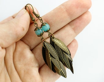 Turquoise earrings Blue earrings Leaf earrings Boho earrings Tribal jewelry Christmas gifts for girlfriend gift for her birthday gift women