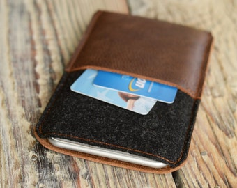 iPhone 6 plus sleeve iPhone 6 Plus case Leather sleeve Credit card case Phone case