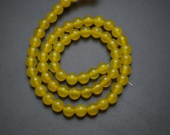 Yellow Agate Smooth Stone Round Loose Beads 6mm 8mm 10mm Jewelry Making Supplies