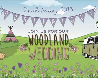 50 Woodland Country Tipi TeePee Camper Van Wedding Wedfest Ticket Invitations!