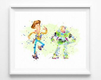 Disney Print, Woody and Buzz Lightyear, Toy Story Printable, Watercolor Art, Kids Decor, Baby Nursery Decor, Boy Gifts, Home Decor, Wall Art