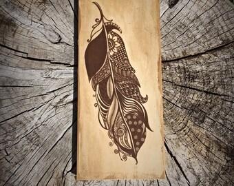 Zentangle Feather On Wood