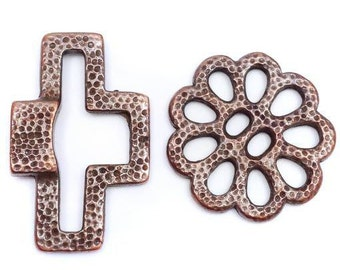1 toggle clasp, copper, 30 mm, flower, flower, copper toggle clasp