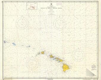 Hawaiian Islands Map - Hawaii to French Frigate Shoals Historical Chart 1961