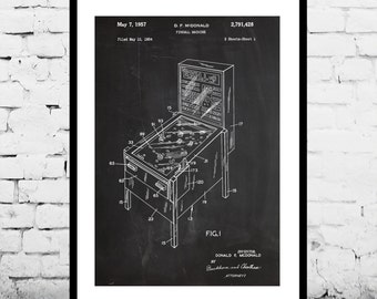 Pinball Machine Patent, Pinball Machine Poster, Pinball Machine Blueprint,  Pinball Machine Print, Pinball Machine Art, Pinball Decor