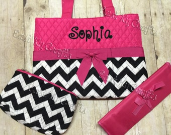 monogrammed Pink and black diaper bag 3 piece set personalized