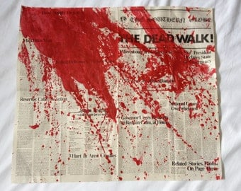 George A. Romero's DAY of the DEAD The Dead Walk! Newspaper Prop Replica BLOOD Splattered Version 27