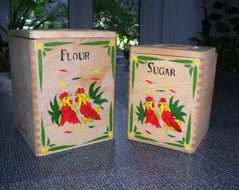 Rooster Canisters Set of 2 Wood Rooster Canisters 50s Japan Vintage
