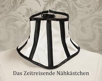 White neck corset, shiny vinyl fabric with stripes