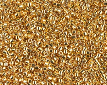 DB-31 Miyuki delica beads 24kt plated bright gold beads Miyuki seed beads Miyuki Cylinder Glass Beads size 11/0 Bead embroidery DB31 DB 31