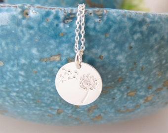 Sterling silver dandelion necklace, dandelion necklace, wish necklace