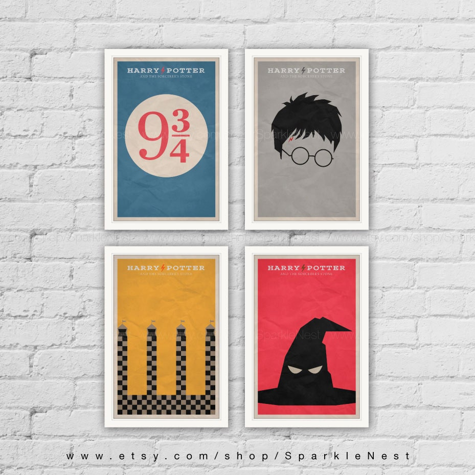 Harry Potter Posters. Set Of 4 Prints. Vintage Art Print. Pop