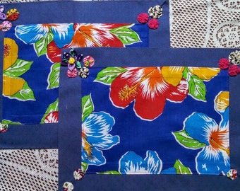 UPCYCLED Tropical Flower, Blue, Fuxico Placemats (set of 2)