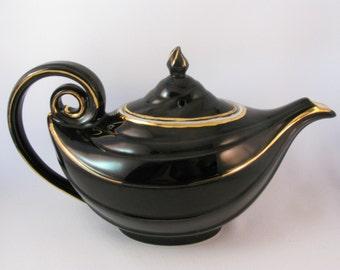 Vintage 1940s Hall #0670 Aladdin Teapot Black and Gold Genie Teapot Art Deco