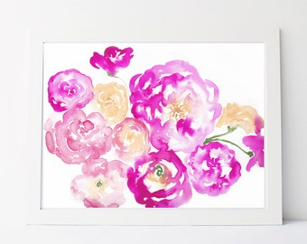 Watercolor Flowers INSTANT DOWNLOAD printable watercolor poster
