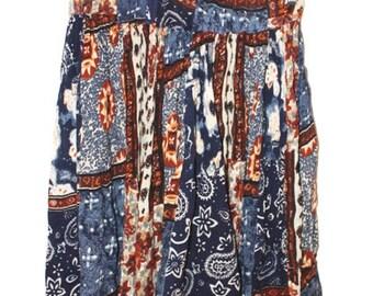 Vintage Summer Skirt - Colorful Festival Skirt - Middle long Hippie Skirt - Boho Chic Skirt