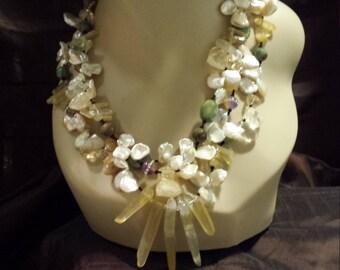 Three strand Keshi Pearl, hematoma quartz,  chrysophrase and lemon faceted quartz