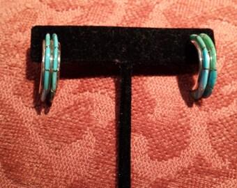 Sterling silver native American turquoise inlaid half loop earrings artist made