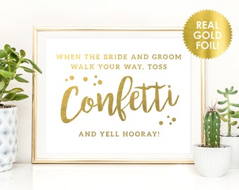 Confetti Sign In REAL GOLD Foil / Toss Confetti Sign / Confetti Wedding Send Off Signs / Gold Foil Wedding Signs / Peony Theme