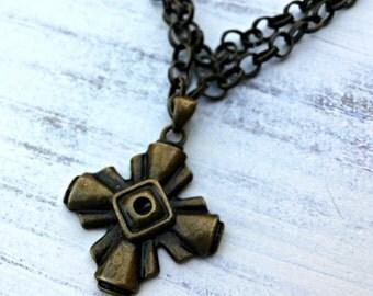 Ancient of Days, Bronze cross chain necklace, Bohemian, Boho, Christian