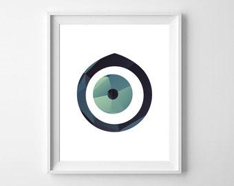 Evil Eye Print/Evil eye art/8 x 10 wall art/blue evil eye/Instant download/digital evil eye/printable evil eye/wall art/Home décor/evil eye