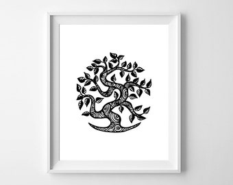 Tree of life wall art /black over white wall art /8 x 10 Tree print /Instant download/art for home décor/Nature wall art / ethnic tree art