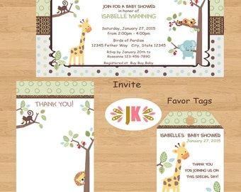 Tree Top Jungle Baby Shower Printed Invitations