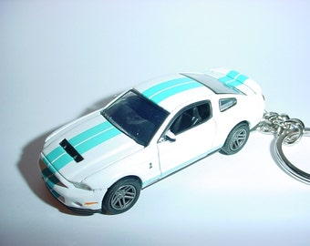 3D 2011 Ford Mustang Shelby GT500 custom keychain by Brian Thornton keyring key chain finished in white/blue color opening hood design