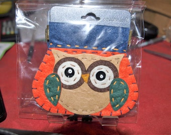 Red Owl Felt Coin Purse