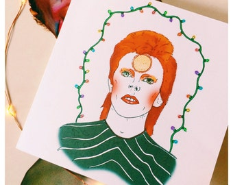 David Bowie Inspired Christmas Card