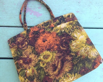 Vintage Retro Flower Power Purse Yellow Gold Orange Brown Hippie Boho Style