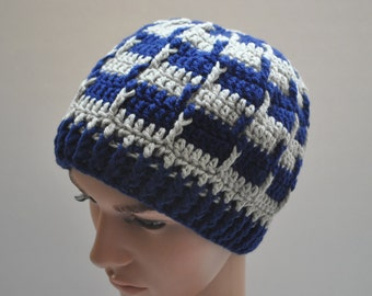 Greek Style Beanie in Blue and Grey, Mens Beanie, Mens Hats, Winter Beanies, Winter Hats, Mens Apparel
