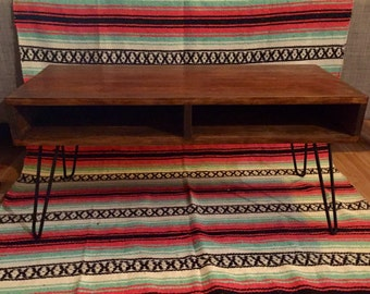 Retro Rustic Wood Mid-Century Coffee table on handmade hairpin legs