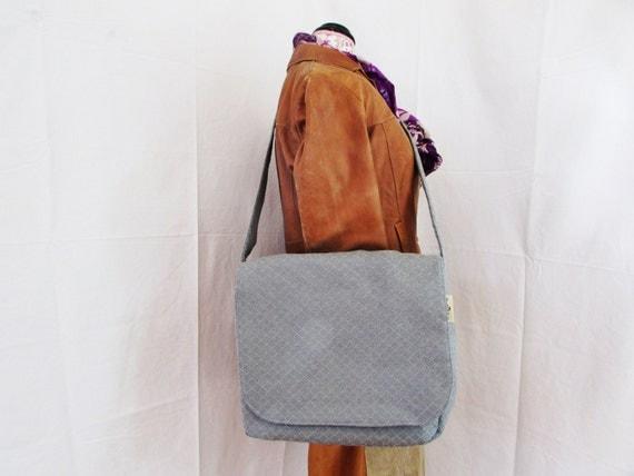 Patterned Grey Messenger Bag