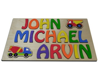 Toddler Trucking Hand Crafted Personalized Wooden Name Puzzles Three (3) Names Child's Name, With Dump Truck & Tanker Truck id240083059