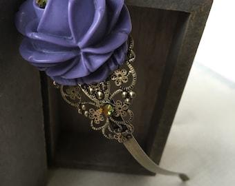Violet Rose Headband Swarovski Crystals.