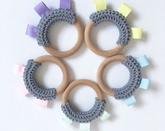 Tag Teether, Baby Wood Teething Ring, Cotton