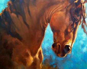 Memory, baroque horse original oil Painting by Canadian Artist Kindrie Grove