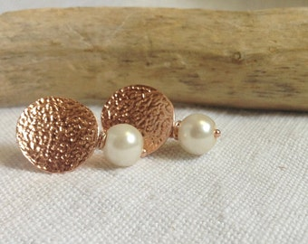 Silver earrings 925 galvanized rose gold and pearl .