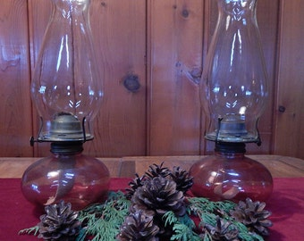 Cranberry Glass Oil Lamps