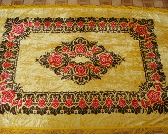 Vintage 1970's Luxurious Plush Velvet  Yellow Bedspread or Tablecloth with Fringed Edging - Home decor - Made in USSR