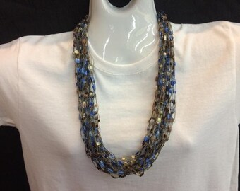 Chocolate blue crocheted ribbon necklace #130