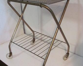 Fine Mid Century Modern Folding Mobile Cart With Sheet Brass Shelf