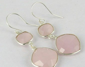 25% Off Sale Pink Chalcedony Earrings - Bezel Set Earrings - 925 Sterling Silver Earrings - Pink Stone Earrings - Long Dangle Earrings - Bri