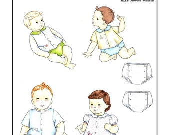 Creations by Michie' #109 - Infant Shirt and Diaper Cover- Sizes: Newborn – 6 months - Sewing Pattern Instant Download Printable