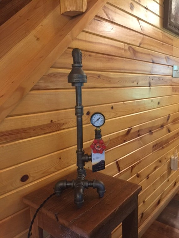 Industrial Black Iron Pipe Table Lamp with Vintage Steampunk Valve Light Switch