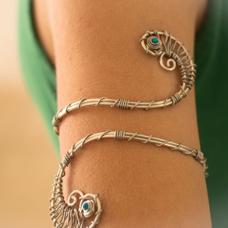 Silver Arm Cuff Silver Amp Tourquize Upper Arm Bracelet Arm