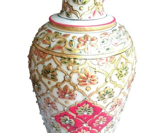 Marble Vase / Stone Inlaid work for Asian Collectible/Home decor/Showpiece